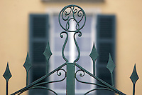 Le iniziali di Giuseppe Verdi sulla sommità' del cancello di Villa Verdi, casa del compositore. a Sant'Agata, frazione di Villanova sull'Arda.<br /> Giuseppe Verdi's initials on the top of the exterior gate of Villa Verdi, house of the Italian composer, in the village of Sant'Agata, of the commune of Villanova sull'Arda.<br /> UPDATE IMAGES PRESS/Riccardo De Luca