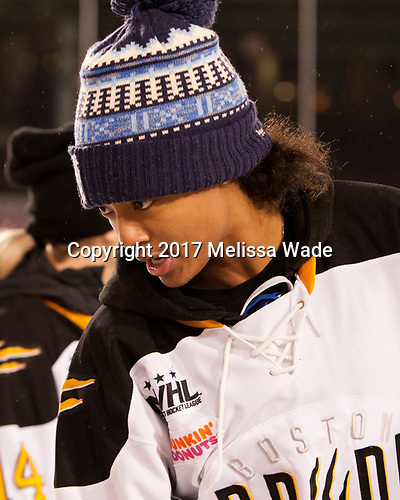 """Blake Bolden - Members of the Boston Pride helped put on a clinic for """"Women's and Girls' Hockey Day on Tuesday, January 10, 2017, at Fenway Park in Boston, Massachusetts.The Boston College Eagles defeated the Harvard University Crimson 3-1 on Tuesday, January 10, 2017, at Fenway Park."""
