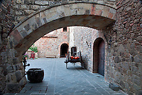 Outdoor courtyard at Castello di Amorosa. Napa Valley, California. Property relased