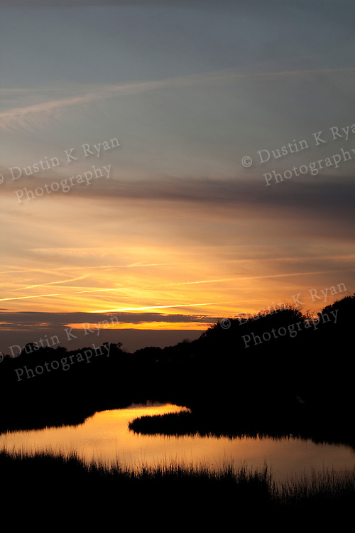 sunset tidal creek marsh grass lowcountry south carolina