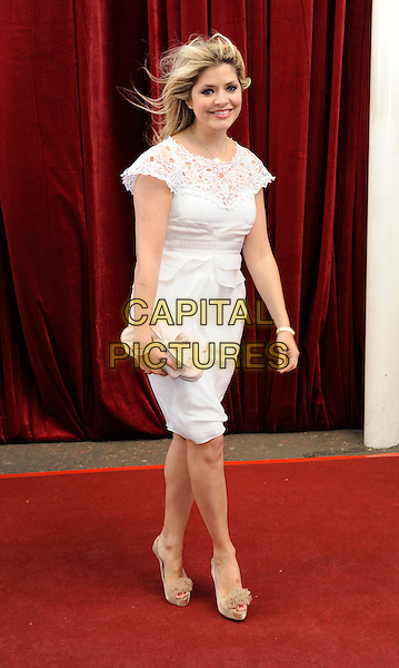 HOLLY WILLOUGHBY.'An Audience with Michael Buble' Red Carpet arrivals at the London ITV Studios, South Bank, London, England..May 3rd 2010.full length white dress crochet lace beige shoes clutch bag cream .CAP/FIN.©Steve Finn/Capital Pictures.