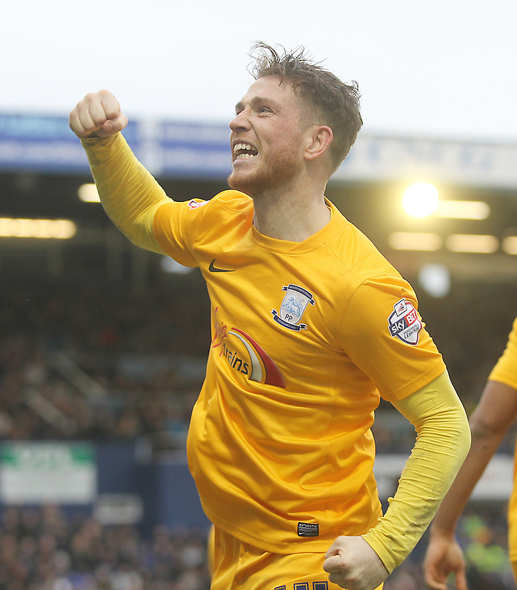 Preston North End's Joe Garner celebrates scoring his sides third goal <br /> <br /> Photographer Mick Walker/CameraSport<br /> <br /> Football - The Football League Sky Bet League One - Oldham Athletic v Preston North End - Saturday 28th February 2015 - SportsDirect.com Park - Oldham<br /> <br /> &copy; CameraSport - 43 Linden Ave. Countesthorpe. Leicester. England. LE8 5PG - Tel: +44 (0) 116 277 4147 - admin@camerasport.com - www.camerasport.com
