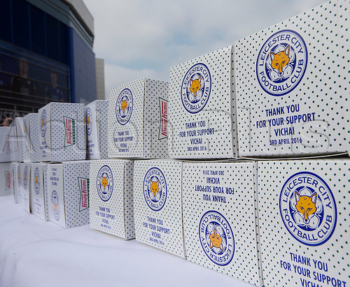 03.04.2016. King Power Stadium, Leicester, England. Barclays Premier League. Leicester versus Southampton.  View of boxes of Krispy Kreme donuts outside the King Power Stadium.