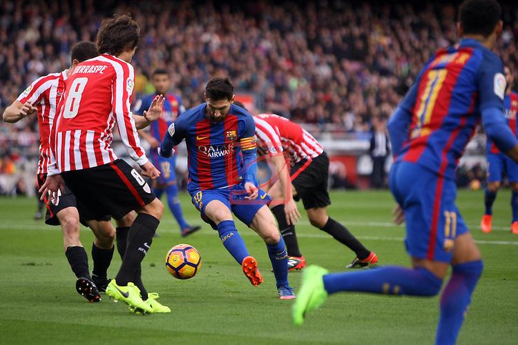 League Santander 2016/2017. Game: 21.<br /> FC Barcelona vs Athletic Club: 3-0.<br /> Iturraspe, De Marcos &amp; Lionel Messi.