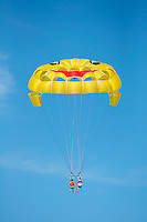 Rear view of tandem parasailers floating away under a blue sky