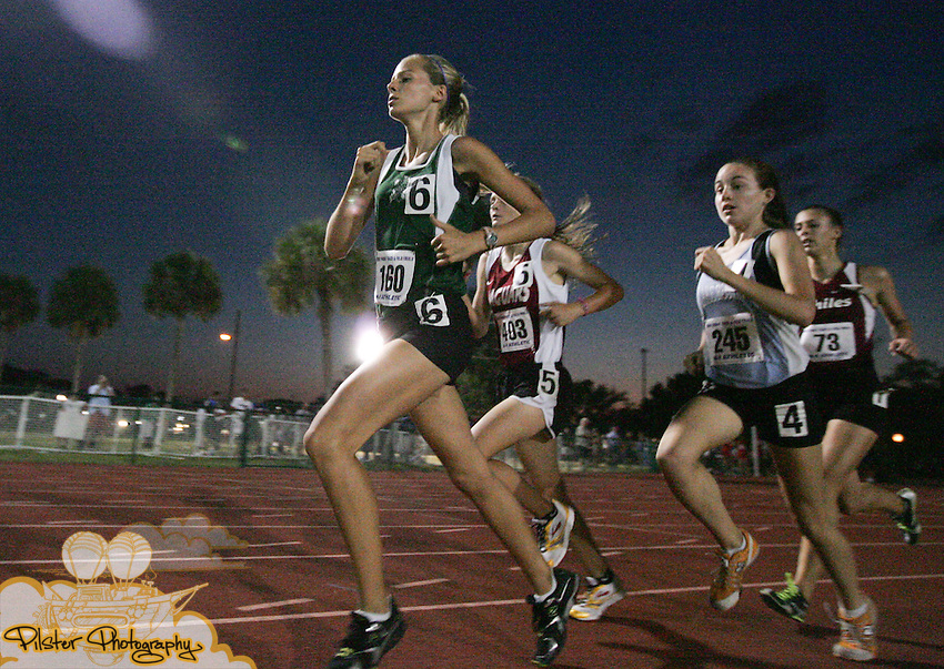 Fort Myers Sarah Span (160) runs in the 3200 where she placed 7th with a time of 11:28.68 on Friday, May 8, 2009, during the FHSAA Class 3A Track and Field Finals at Showalter Field in Winter Park.  (Chad Pilster, PilsterPhotography.com for the Fort Myers News-Press)