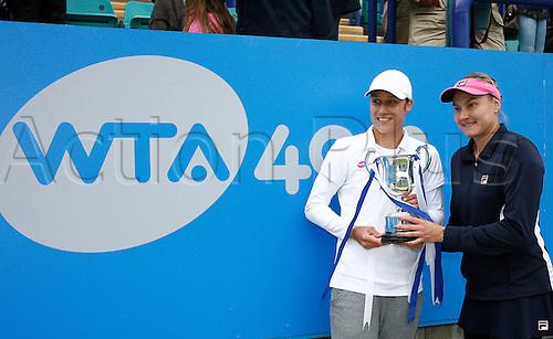 22.06.2013. Eastbourne, England. N.Petrova (RUS) / K.Srebotnik (SLO) defeat  M.Niculescu / K.Zakopalova (CZE) in Women Doubles final by a score 6-3, 6-3  at Devonshire Park