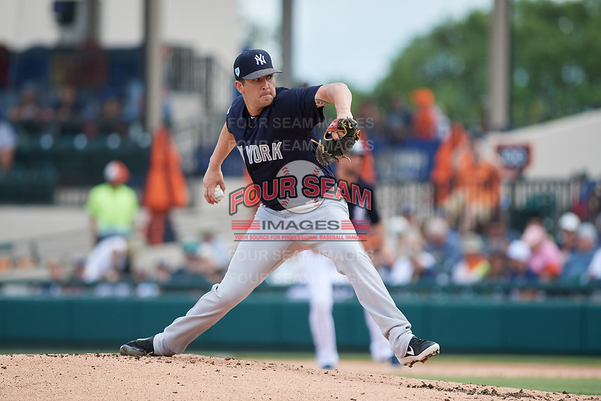 New York Yankees relief pitcher Brady Lail (84) delivers a pitch during a Grapefruit League Spring Training game against the Detroit Tigers on February 27, 2019 at Publix Field at Joker Marchant Stadium in Lakeland, Florida.  Yankees defeated the Tigers 10-4 as the game was called after the sixth inning due to rain.  (Mike Janes/Four Seam Images)