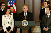 United States President George W. Bush makes a statement in support of Judge Samuel A. Alito's nomination to be Associate Justice of the United States Supreme Court at the White House in Washington, D.C. on January 25, 2006.  He was accompanied by 41 former clerks to the Judge.<br /> Credit: Ron Sachs - CNP