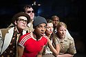London, UK. 03.10.2014. Mountview Academy of Theatre Arts presents VERNON GOD LITTLE, at the Bridewell Theatre. Picture shows: John Wallis, Louis Martin, Asan N'Jie, Elle Goffe, Richard Rowe McGhie, Katie Dalzell. Photograph © Jane Hobson.