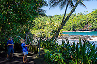 A tourist with a selfie stick takes photos of Onomea Bay and the Hamakua coastline along a trail through Hawaii Tropical Botanical Garden, Big Island of Hawaiʻi.