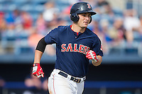 Nick Longhi (21) of the Salem Red Sox hustles down the first base line against the Lynchburg Hillcats at LewisGale Field at Salem Memorial Baseball Stadium on August 7, 2016 in Salem, Virginia.  The Red Sox defeated the Hillcats 11-2.  (Brian Westerholt/Four Seam Images)