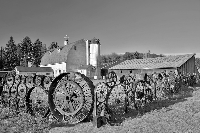 Wheel fence and barn. Eastern Washington.