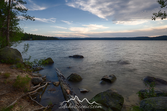 Idaho, West Central, McCall. Payette Lake under evening skies on a summer evening in Ponderosa State Park.