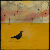 Mixed media photography of lone crow in yellow field with antique map and encaustic painting