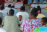 Local i-Kiribati at a Sunday church sevice on the remote island of Kiritimati in Kiribati