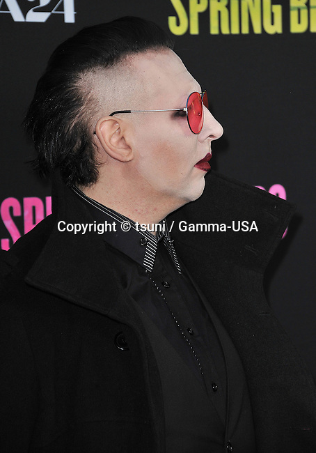 Marilyn Manson  at  The Spring Breakers Premiere at the Arclight Theatre in Los Angeles.