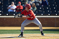Corey Howard (16) of the Wake Forest Demon Deacons squares to bunt against the Wake Forest Demon Deacons at David F. Couch Ballpark on February 18, 2018 in  Winston-Salem, North Carolina. The Demon Deacons defeated the Runnin' Bulldogs 8-4 in game one of a double-header.  (Brian Westerholt/Four Seam Images)