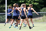 CARY, NC - JUNE 09: The players warm up before training begins. The North Carolina Courage held a training session on June 9, 2017, at WakeMed Soccer Park Field 5 in Cary, NC.