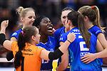 11.05.2019, Scharrena, Stuttgart<br />Volleyball, Bundesliga Frauen, Play-offs Finale, 5. Spiel, Allianz MTV Stuttgart vs. SSC Palmberg Schwerin<br /><br />Jubel Roosa Koskelo (#1 Stuttgart), Jana Franziska Poll (#9 Stuttgart), Krystal Rivers (#13 Stuttgart), Mallory Grace McCage (#5 Stuttgart), Sarah Wilhite (#2 Stuttgart), Madison Bugg (#4 Stuttgart)<br /><br />  Foto © nordphoto / Kurth