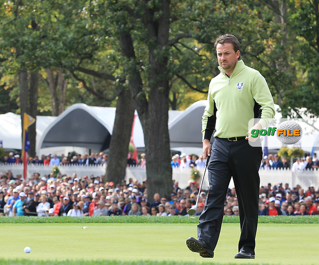 Graeme McDowell during the Foresomes at the Ryder Cup 2012, Medinah Country Club,Medinah, Illinois, USA 28/09/2012.Picture: Fran Caffrey/www.Golffile.ie.