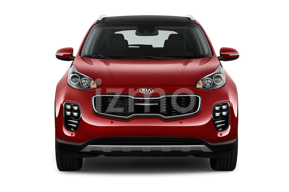 Car photography straight front view of a 2017 KIA Sportage SXAWD 5 Door SUV Front View