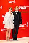 Anne Marivin et Alex Lutz arrivent au Fouquets pour le repas après les César 2014, Restaurant le Fouquet's