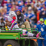 19 October 2014: Buffalo Bills running back C.J. Spiller is driven off the field after receiving an injury in the second quarter against the Minnesota Vikings at Ralph Wilson Stadium in Orchard Park, NY. The Bills defeated the Vikings 17-16 in a dramatic, last minute, comeback touchdown drive. Mandatory Credit: Ed Wolfstein Photo *** RAW (NEF) Image File Available ***