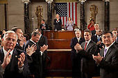Members of Congress, the Cabinet, and Supreme Court applaud as United States President Barack Obama enters the House Chamber to deliver his State of the Union address to a joint session of Congress, Wednesday, January 27, 2010. .Mandatory Credit: Pete Souza - White House via CNP