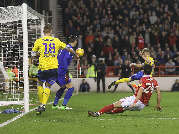 Leeds United's Ezgjan Alioski scores his sides second goal <br /> <br /> Photographer Mick Walker/CameraSport<br /> <br /> The EFL Sky Bet Championship - Nottingham Forest v Leeds United - Tuesday 1st January 2019 - The City Ground - Nottingham<br /> <br /> World Copyright © 2019 CameraSport. All rights reserved. 43 Linden Ave. Countesthorpe. Leicester. England. LE8 5PG - Tel: +44 (0) 116 277 4147 - admin@camerasport.com - www.camerasport.com