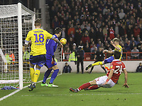 Leeds United's Ezgjan Alioski scores his sides second goal <br /> <br /> Photographer Mick Walker/CameraSport<br /> <br /> The EFL Sky Bet Championship - Nottingham Forest v Leeds United - Tuesday 1st January 2019 - The City Ground - Nottingham<br /> <br /> World Copyright &copy; 2019 CameraSport. All rights reserved. 43 Linden Ave. Countesthorpe. Leicester. England. LE8 5PG - Tel: +44 (0) 116 277 4147 - admin@camerasport.com - www.camerasport.com