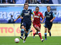 Fussball 2. Bundesliga:  Saison   2012/2013,    4. Spieltag  TSV 1860 Muenchen - MSV Duisburg    31.08.2012 Benjamin Lauth (li, 1860 Muenchen) gegen Antonio da Silva (MSV Duisburg)