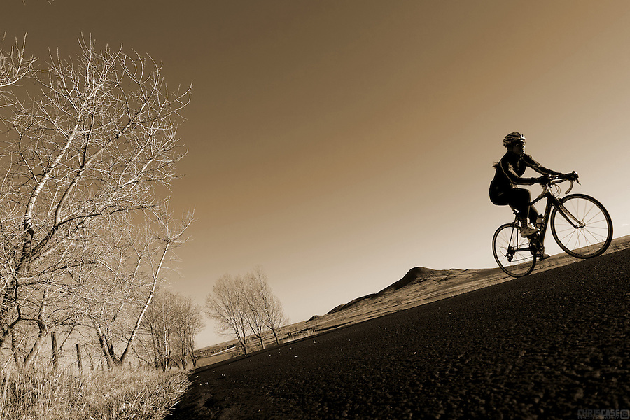 A cyclist rides near Niwot, Colorado.