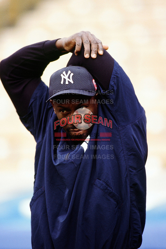 Chili Davis of the New York Yankees during a game against the Los Angeles Dodgers circa 1999 at Dodger Stadium in Los Angeles, California. (Larry Goren/Four Seam Images)