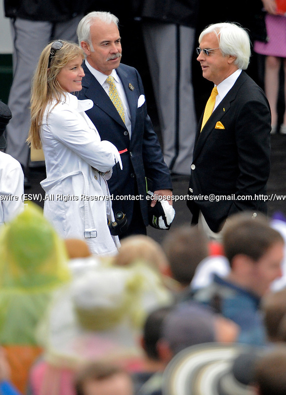 1 May 10: Bo Derek and Bob Baffert talk in the paddock before the136th running of the Kentucky Derby at Churchill Downs in Louisville, Kentucky
