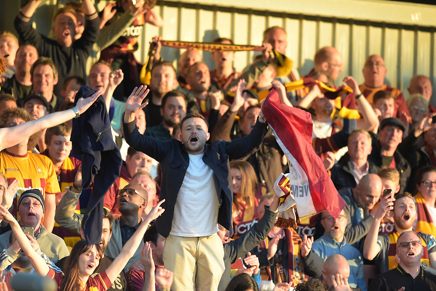 Bradford City fans celebrate at the end of the match<br /> <br /> Photographer Terry Donnelly/CameraSport<br /> <br /> The EFL Sky Bet League One Play-Off Second Leg - Fleetwood Town v Bradford City - Sunday 7th May 2017 - Highbury Stadium - Fleetwood<br /> <br /> World Copyright &copy; 2017 CameraSport. All rights reserved. 43 Linden Ave. Countesthorpe. Leicester. England. LE8 5PG - Tel: +44 (0) 116 277 4147 - admin@camerasport.com - www.camerasport.com