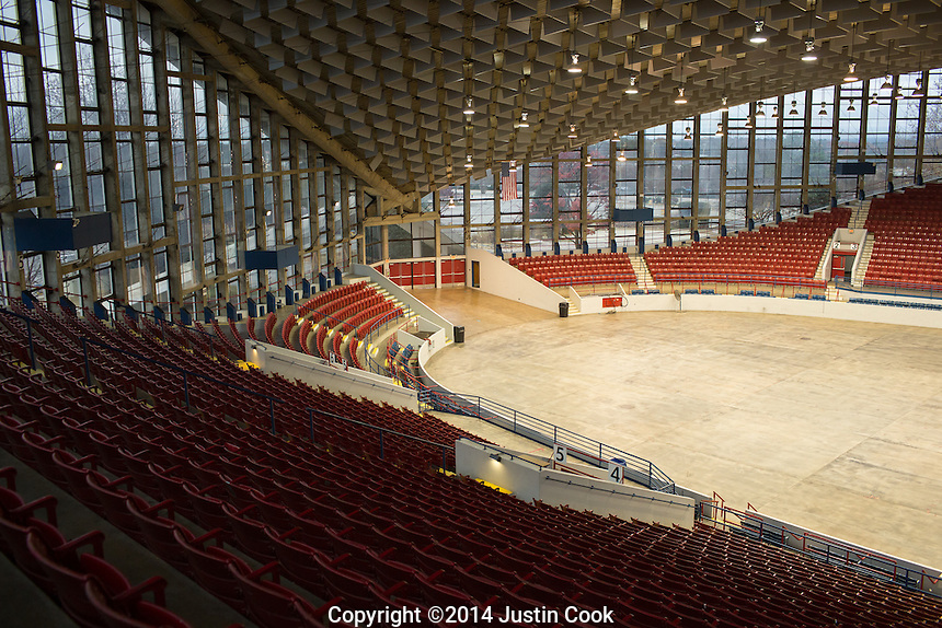 The view from the top of one of many photography boxes Dorton Arena in Raleigh, North Carolina on Tuesday, November 25, 2014. (Justin Cook)