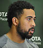 Austin Seferian-Jenkins #88 speaks with the media after a day of New York Jets Training Camp at the Atlantic Health Jets Training Center in Florham Park, NJ on Monday, Aug. 7, 2017.