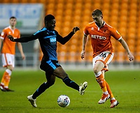 Blackpool's Steve Davies takes on West Bromwich Albion U21&rsquo;s Jonathan Leko<br /> <br /> Photographer Alex Dodd/CameraSport<br /> <br /> The EFL Checkatrade Trophy Northern Group C - Blackpool v West Bromwich Albion U21 - Tuesday 9th October 2018 - Bloomfield Road - Blackpool<br />  <br /> World Copyright &copy; 2018 CameraSport. All rights reserved. 43 Linden Ave. Countesthorpe. Leicester. England. LE8 5PG - Tel: +44 (0) 116 277 4147 - admin@camerasport.com - www.camerasport.com