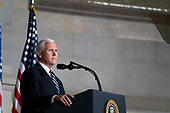 United States Vice President Mike Pence makes introductory remarks prior to United States President Donald J. Trump speaking at the White House Conference on American History in observance of Constitution Day at the National Archives in Washington, DC on Thursday, September 17, 2020.  <br /> Credit: Alex Edelman / Pool via CNP