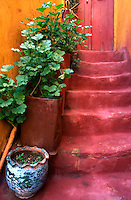 Blue Vase, Red Steps. Chania Old Town. Western Crete,Greece.