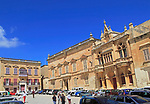 Historic buildings in Saint Paul square, Pjazza San Pawl, medieval city of Mdina, Malta