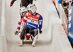 4 December 2015: Matt Mortensen and Jayson Terdiman, sliding for the United States of America, cross the finish line after their second run, finishing 7th for the day with a combined time of 1:28.532 in the Doubles Competition of the Viessmann Luge World Cup at the Olympic Sports Track in Lake Placid, New York, USA. Mandatory Credit: Ed Wolfstein Photo *** RAW (NEF) Image File Available ***