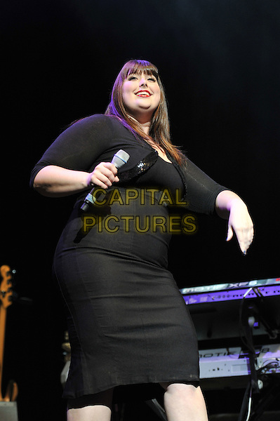 Jessica Clemmons performing live in concert, indigo2, Greenwich, London, England. .1st Dcember 2011.stage gig performance music on half length black dress jacket cropped 3/4.CAP/MAR.© Martin Harris/Capital Pictures.