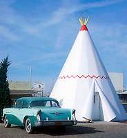 Wigwam Motel located on old Route 66 in Holbrook, Arizona features individual cement teepee shaped rooms.