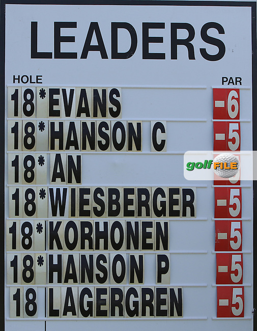 The score board at the 6th green during Round 1 of the 2016 KLM Open at the Dutch Golf Club at Spijk in The Netherlands on 08/09/16.<br /> Picture: Thos Caffrey   Golffile