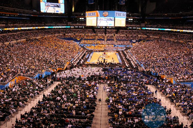 3 APR 2010:  An overview of the stadium during the semifinal game of the 2010 NCAA Final Four Division I Men's Basketball championships held at Lucas Oil Stadium in Indianapolis, IN. Butler defeated Michigan State 52-50 to advance to the championship game. Kris Rieser/NCAA Photos