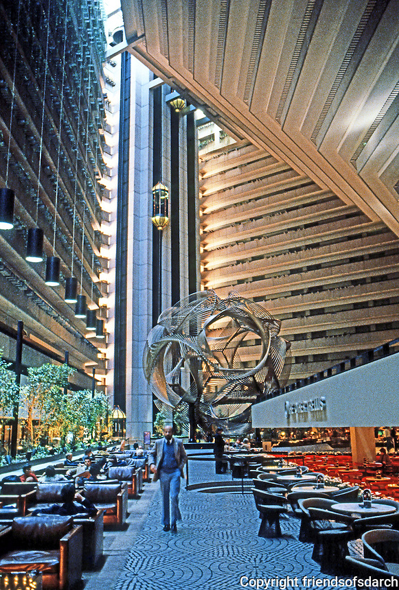 "San Francisco:  Hyatt Hotel Interior. John Portman & Assoc., 1972. Sculpture ""Eclipse"" by Charles O. Perry. Photo '83."