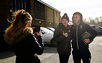 Lincoln City's Shay McCartan has a photograph taken with fans outside the ground<br /> <br /> Photographer Chris Vaughan/CameraSport<br /> <br /> The EFL Sky Bet League Two - Lincoln City v Northampton Town - Saturday 9th February 2019 - Sincil Bank - Lincoln<br /> <br /> World Copyright &copy; 2019 CameraSport. All rights reserved. 43 Linden Ave. Countesthorpe. Leicester. England. LE8 5PG - Tel: +44 (0) 116 277 4147 - admin@camerasport.com - www.camerasport.com