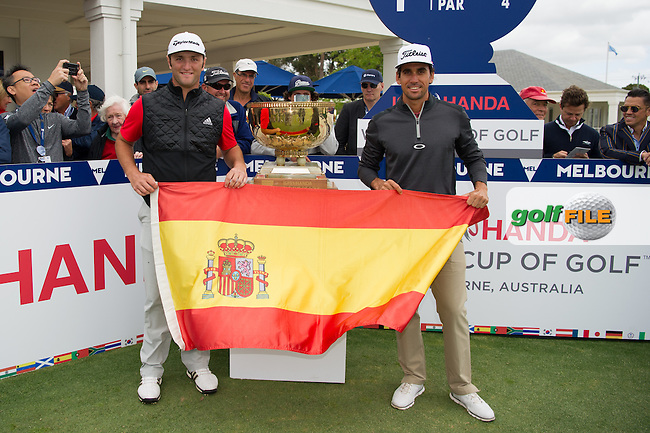 John Rahm (ESP), Rafa Cabrera Bello (ESP) at the Start of round 1 at the ISPS Handa World Cup of Golf, from Kingston heath Golf Club, Melbourne Australia. 24/11/2016<br /> Picture: Golffile | Anthony Powter<br /> <br /> <br /> All photo usage must carry mandatory copyright credit (&copy; Golffile | Anthony Powter)